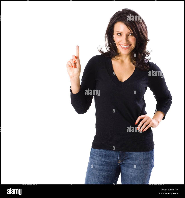 Frau, Blick in die Kamera Stockbild