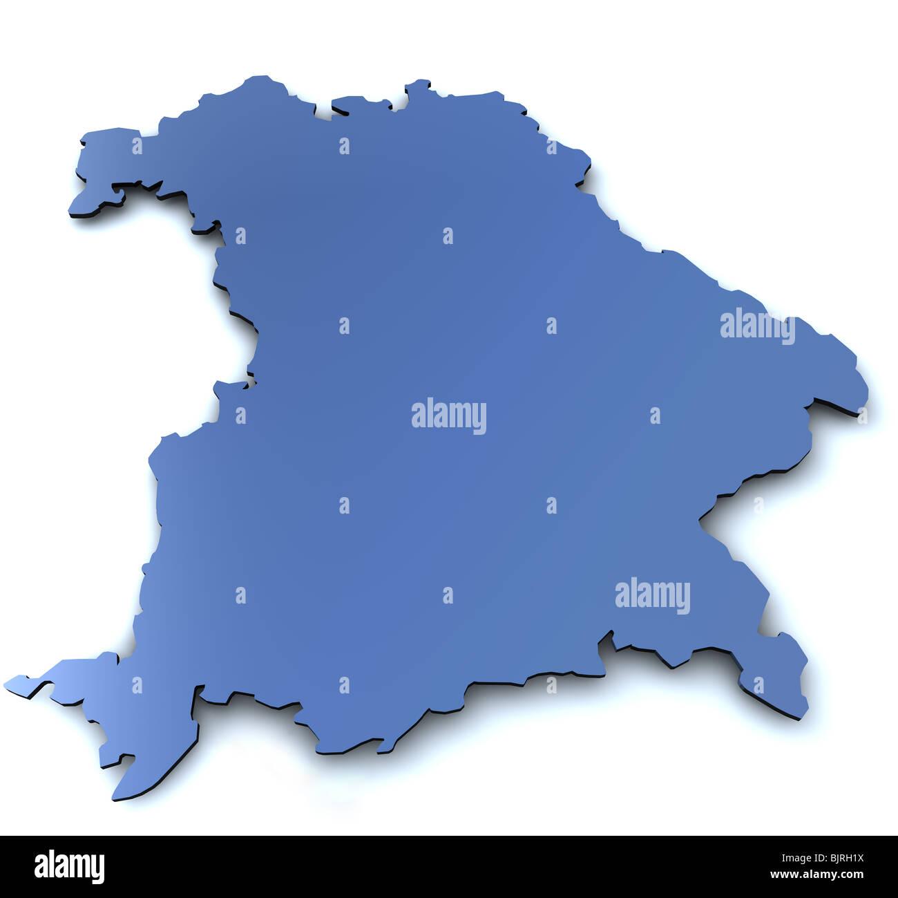 Karte Von Dem Bundesland Bayern In 3d Mit Leichten Schatten