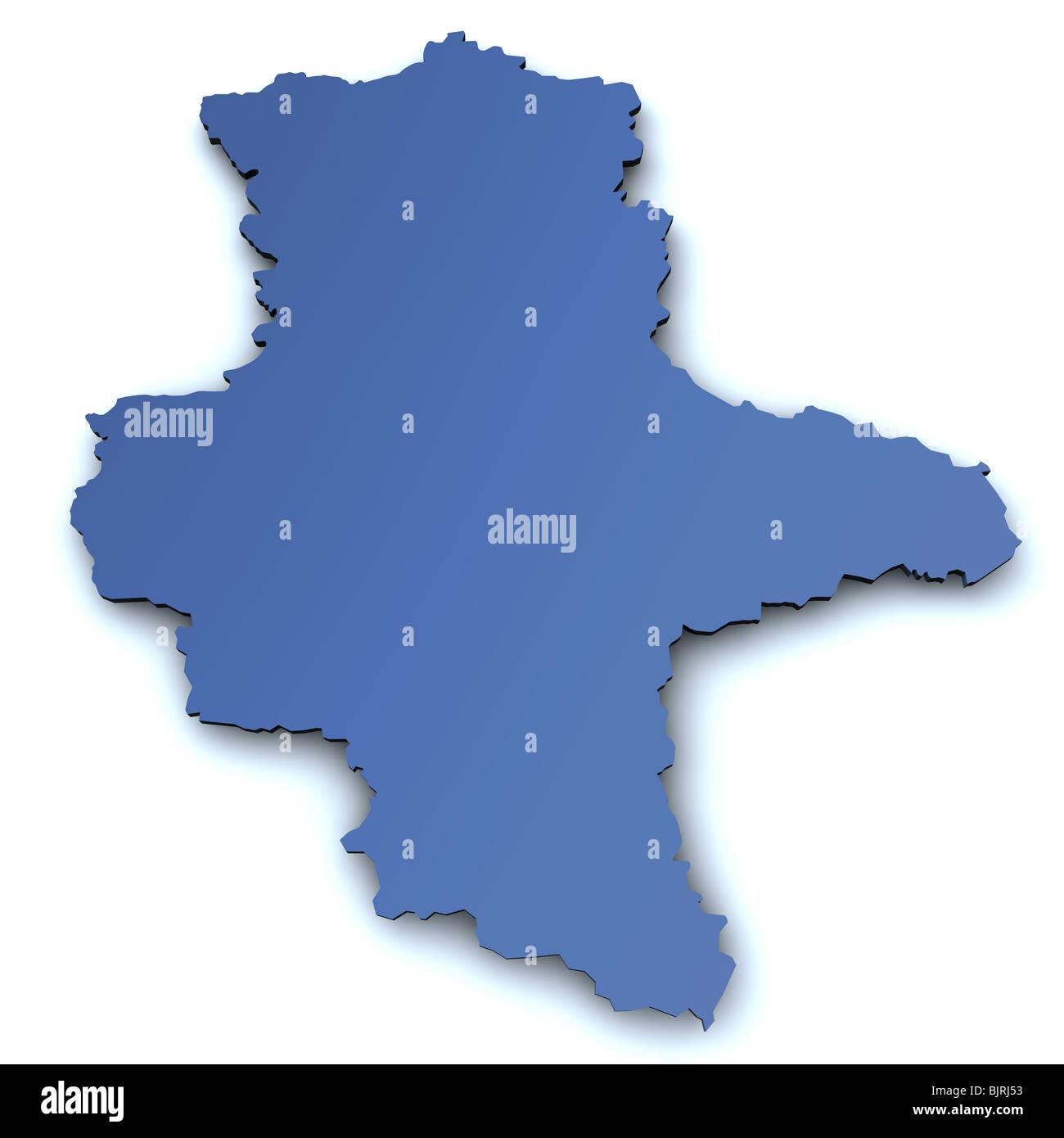 Karte Sachsen Anhalt.Karte Des Deutschen Bundeslandes Sachsen Anhalt In 3d Mit Leichten