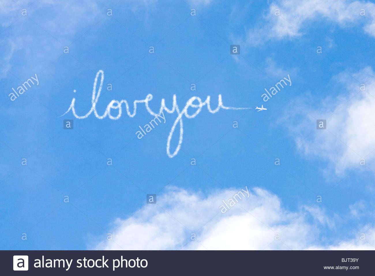Ich liebe dich geschrieben in Dampf Stockbild