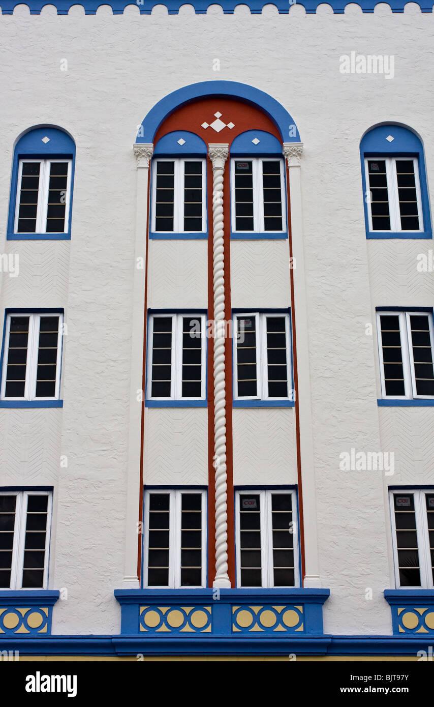 Moderne Malerei Stil Auf Mediterrane Art Deco Architektur Am Ocean Drive,  Miami