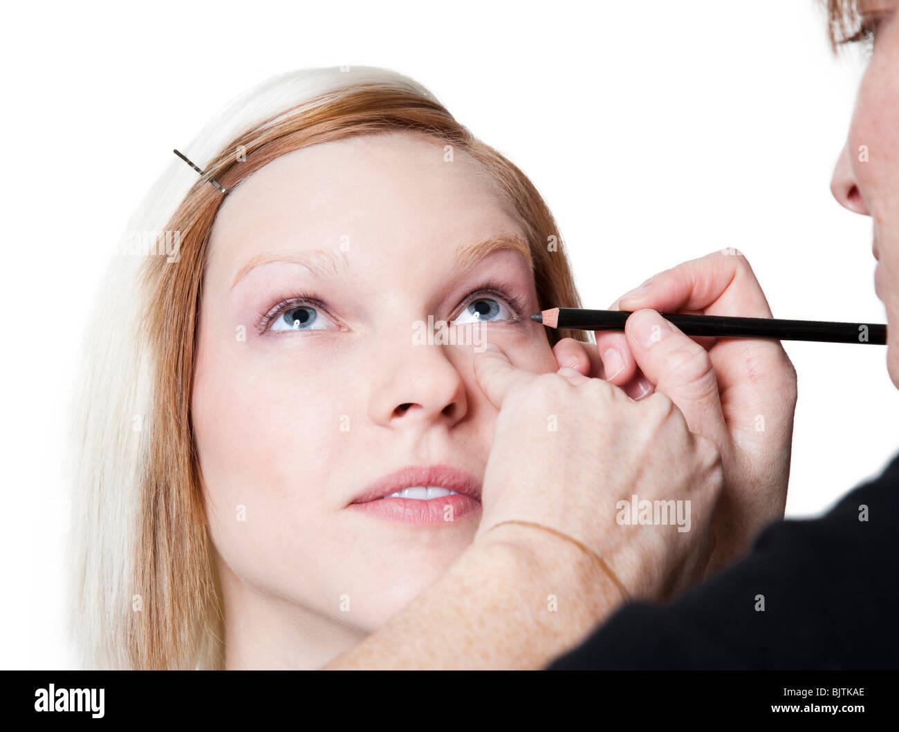 Frau kosmetische Bewerbung Stockbild