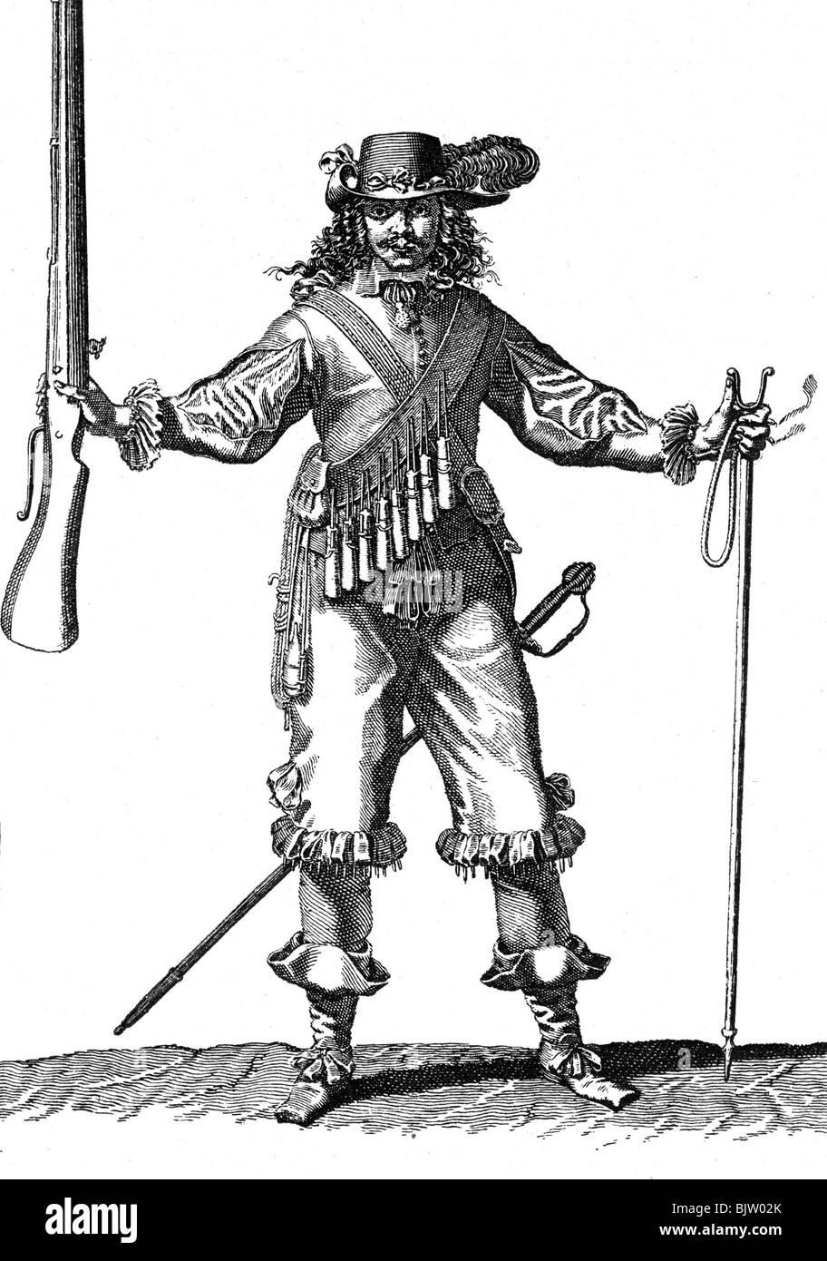 17 Jahrhundert Bild Architektur: Militär, 17. Jahrhundert, Infanterie, Musketier