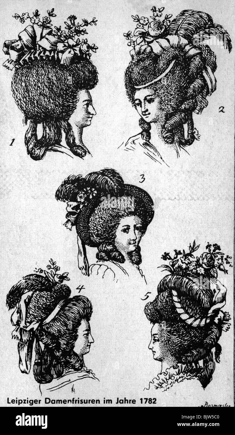 Ladies Fashion Fashion 18 Jahrhundert Kopfbedeckungen Rokoko