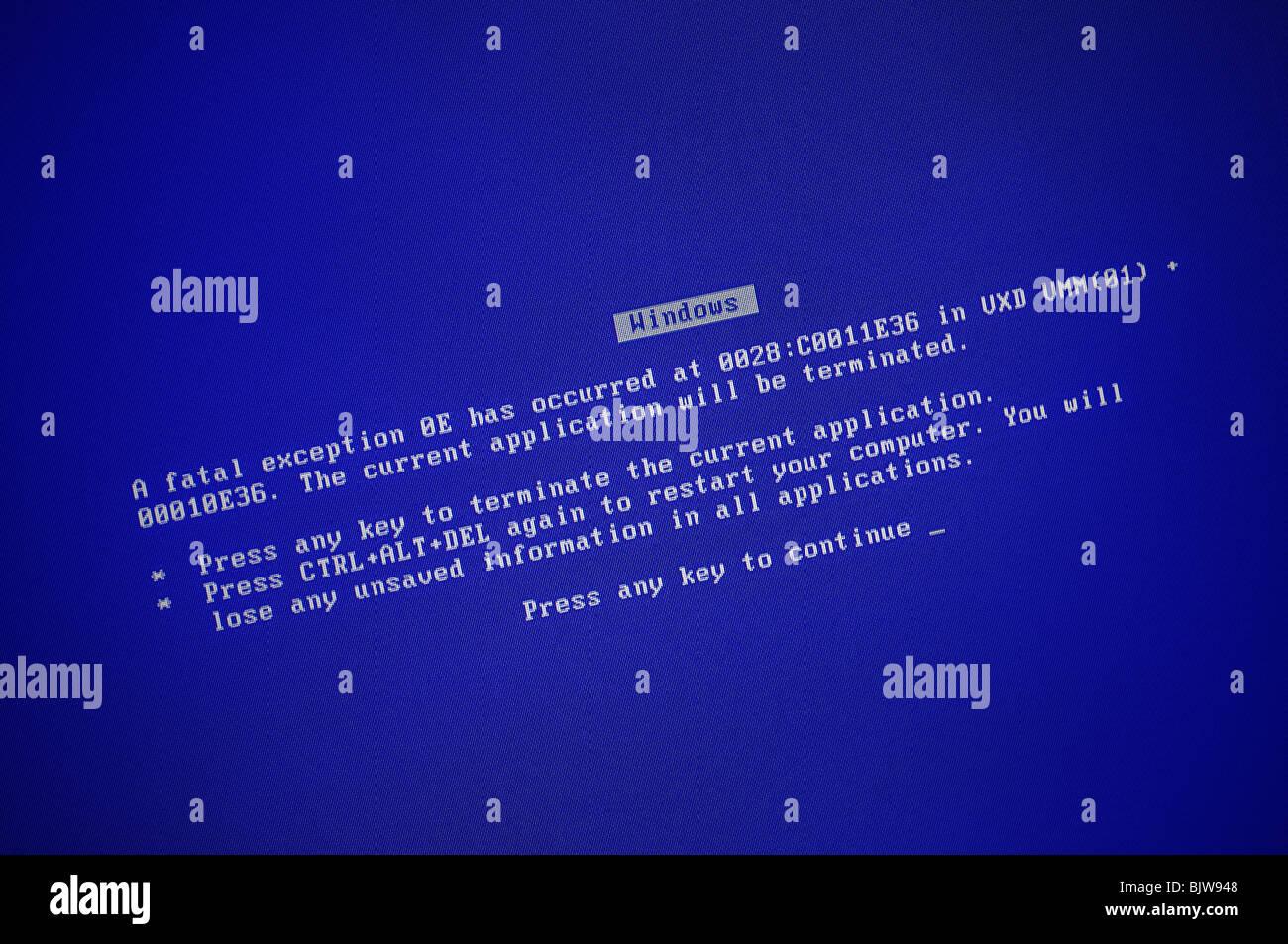 Computer-Fehler-Bildschirm Stockbild