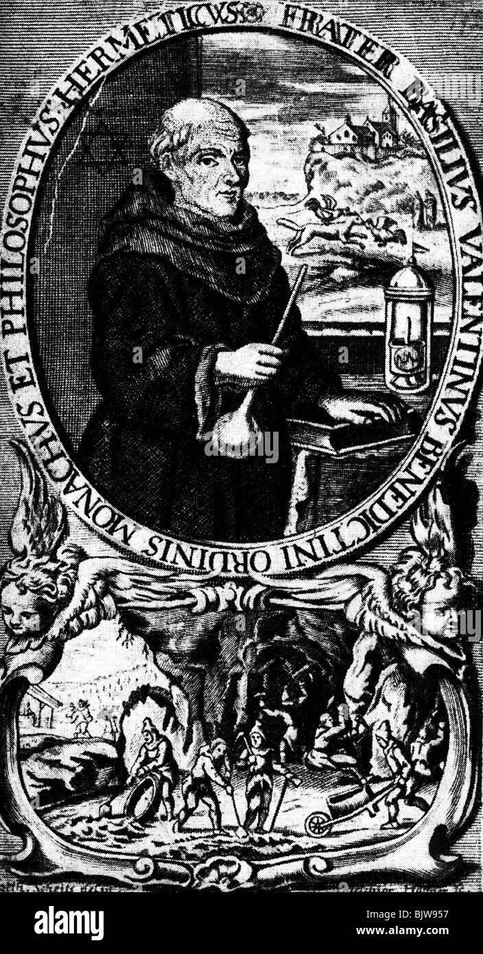 Basilius Valentinus, deutscher Geistlicher (Mönch), seit 1413 Benediktiner und Alchemist, halbe Länge, Stockbild