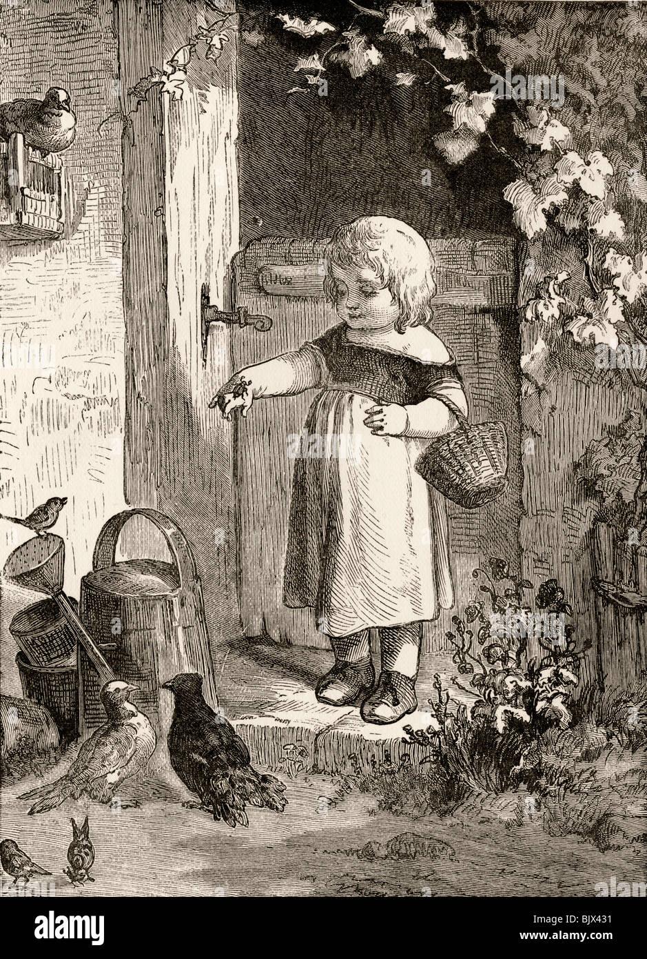 Beispiel für Buchillustration des 19. Jahrhunderts Kinder. Kleines Mädchen mit Insekt auf ihre Hand in Stockbild