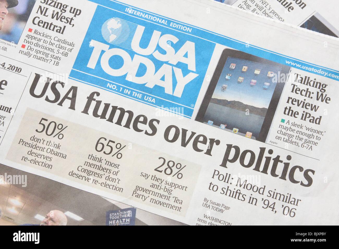 Politischen Schlagzeilen in der internationalen Ausgabe der Zeitung USA Today. Stockfoto