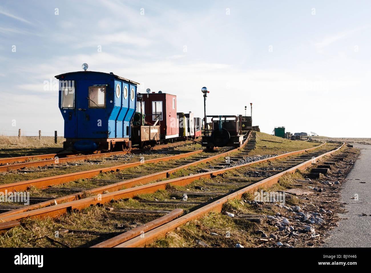 Klein-LKW (Lore) Station auf der Insel Langeness Stockbild