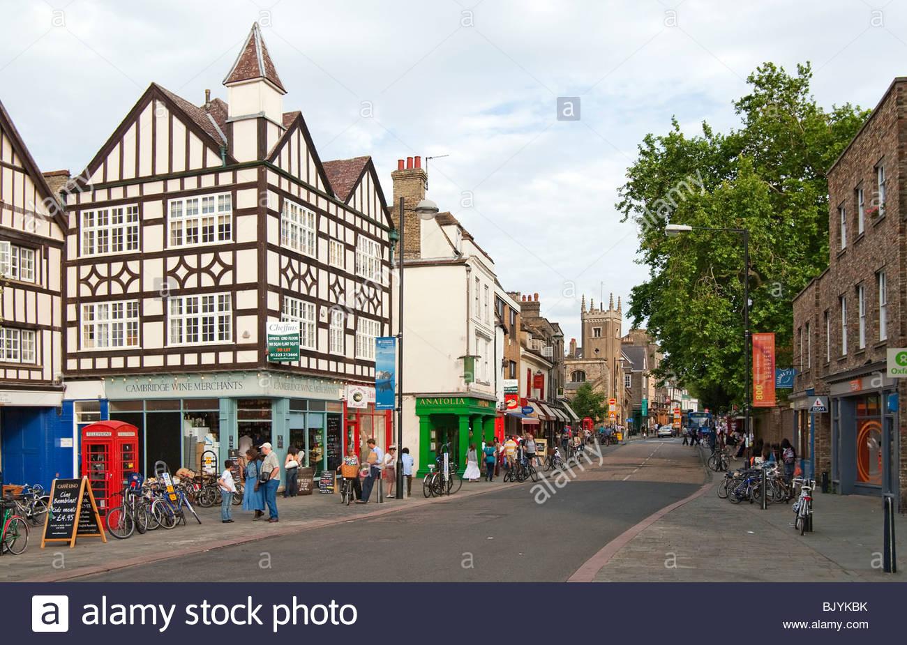 In der Altstadt die mittelalterliche Universitätsstadt Cambridge, England. Stockbild