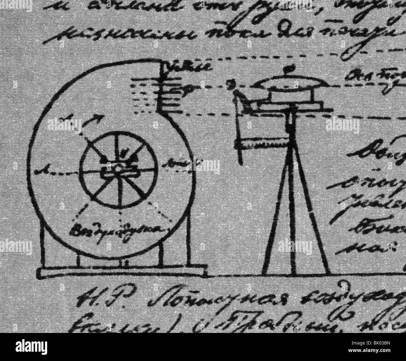 Tsiolkovskii, Konstantin Eduardovich, 17.9.1857 - 19.9.1935, russischer Physiker, Mathematikhistoriker, Windkanal, Stockfoto
