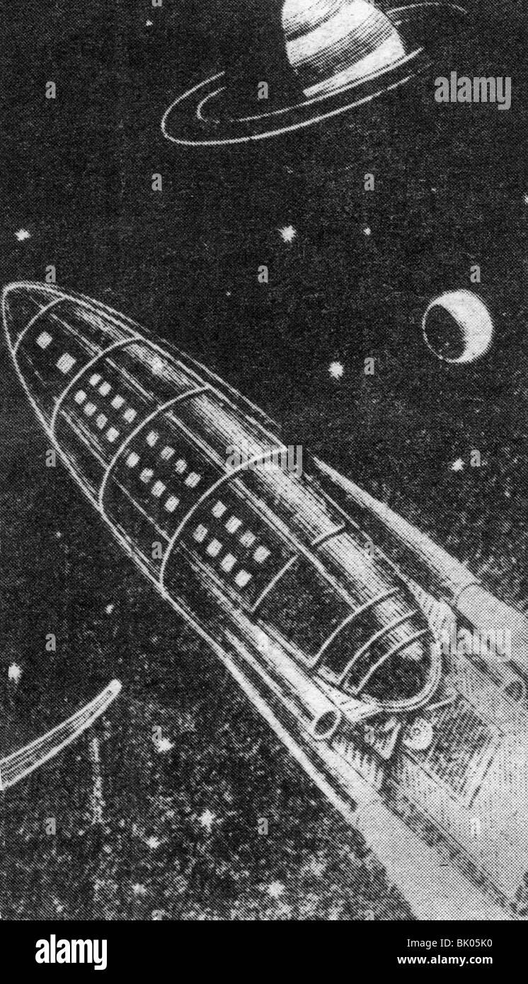 Tsiolkovskii, Konstantin Eduardovich, 17.9.1857 - 19.9.1935, russischer Physiker, Mathematikhistoriker, Rakete im Stockfoto