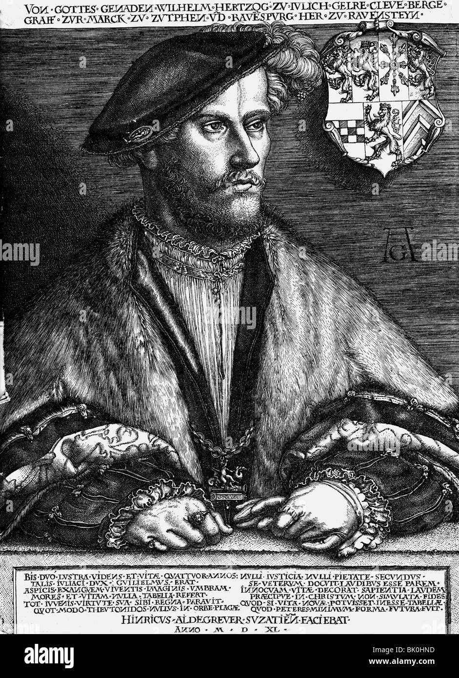 """William V """"die Reichen"""", 28.7.1516 - 5.1.1592, Herzog von Juelich-Kleve-Berg 6.2.1539 - 5.1.1592, halbe Stockbild"""