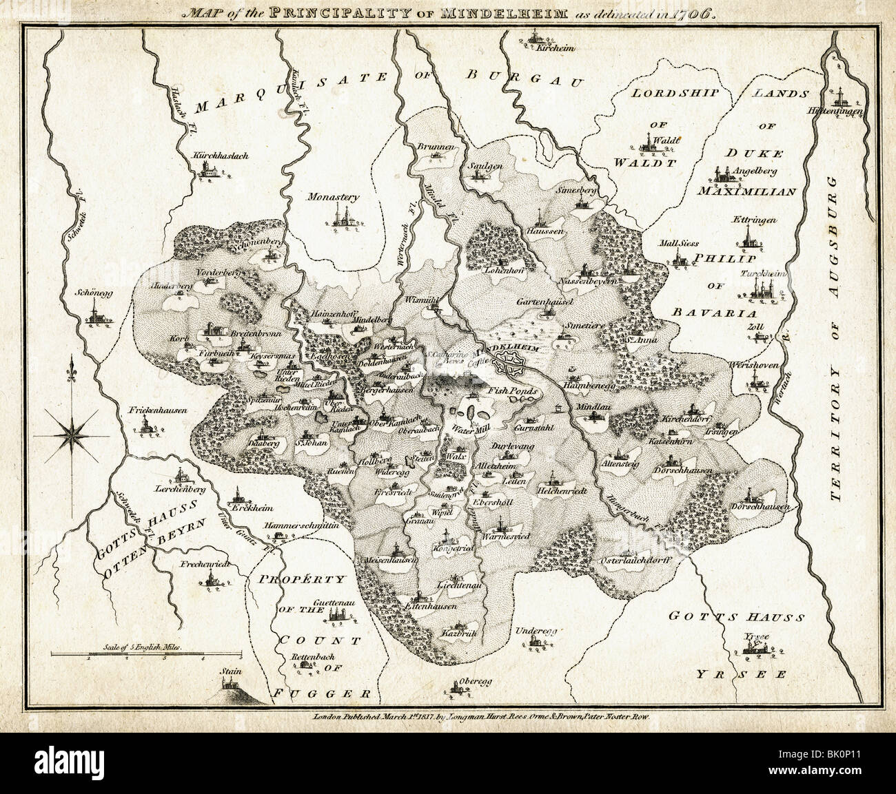 Kartografie Historische Karten Karte Des Furstbistums Mindelheim