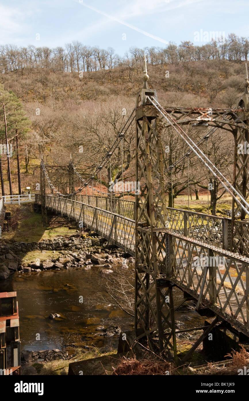 Gusseisen-Eisenbahn Brücke über Elan-Fluss, Elan Valley, Mid Wales Stockbild