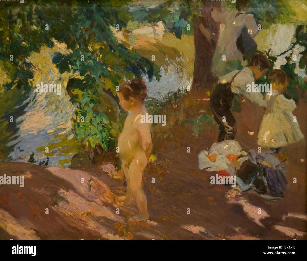Joaquin Sorolla Spanien spanische Maler The-Bad in la Granja 1907 Stockbild