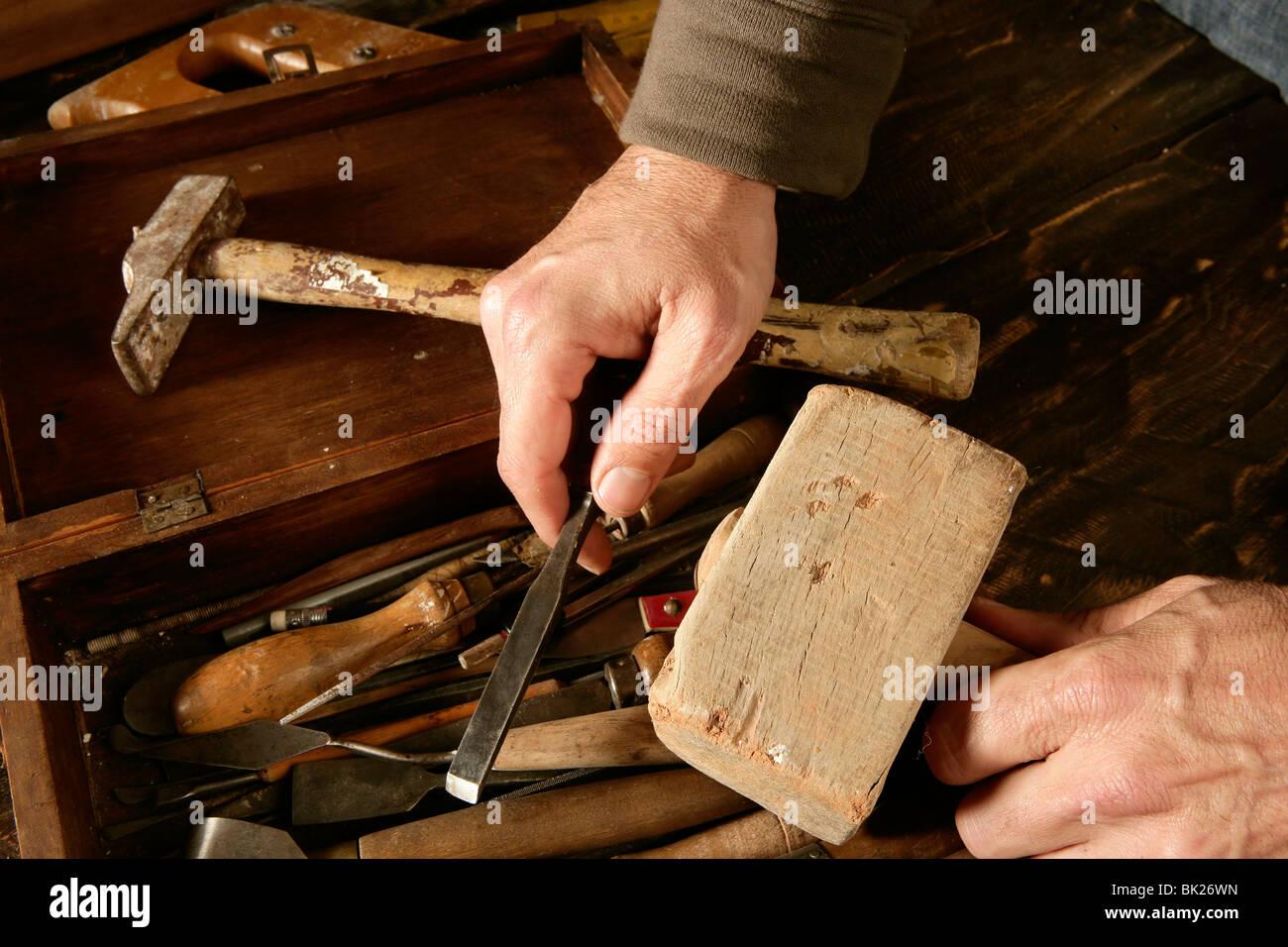 Handwerker-Schreiner Handwerkzeuge Künstler Handwerkskunst Stockbild