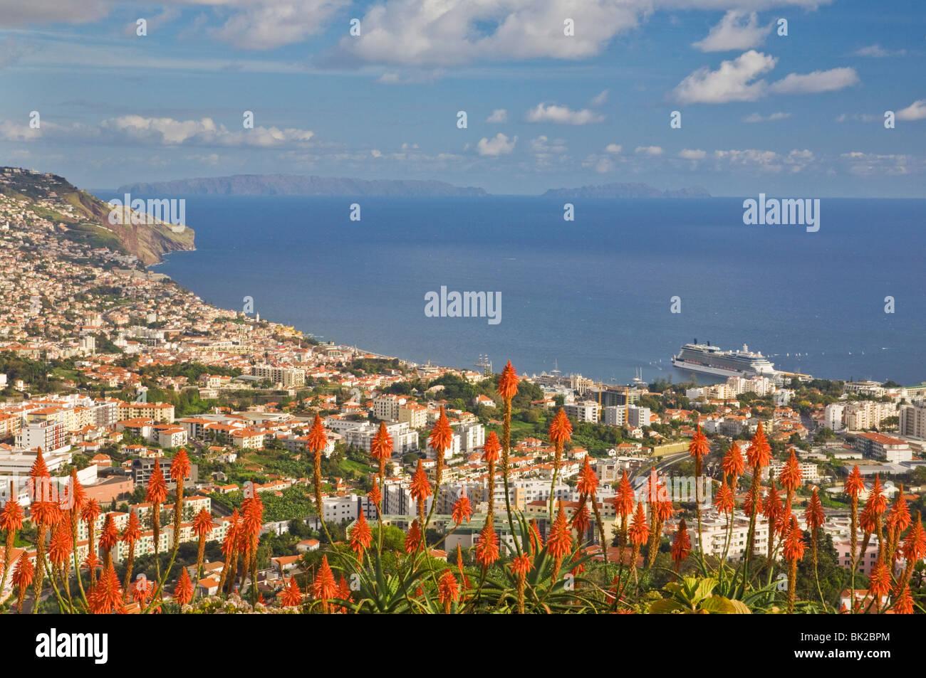 Madeira Portugal Madeira Blick auf Funchal, der Hauptstadt von Madeira über die Bucht und Hafen Altstadt Funchal Stockbild