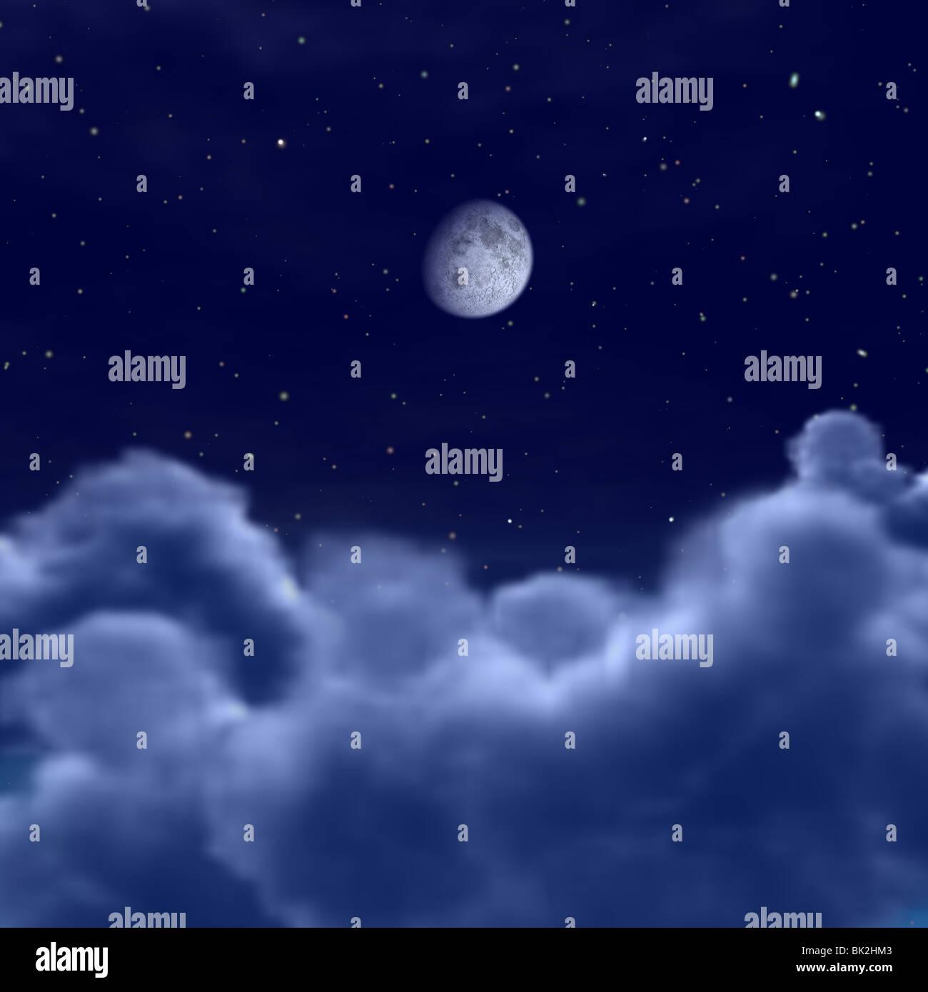 Lookingat der Mond im Raum oder der Nacht Himmel über den Wolken Stockbild
