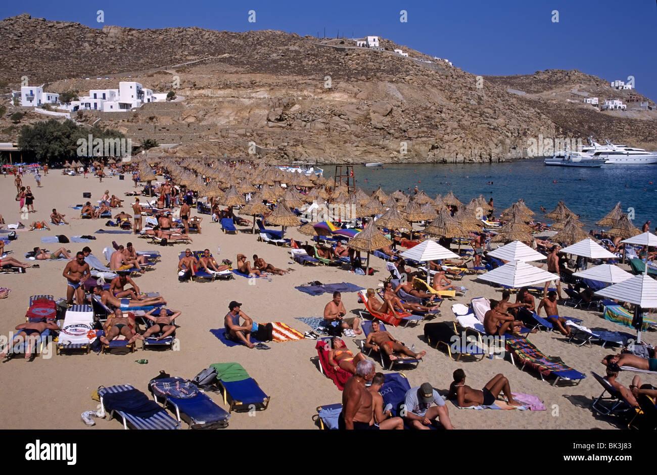 Super Paradise Beach Mykonos Island Stockfotos und -bilder Kaufen - Alamy