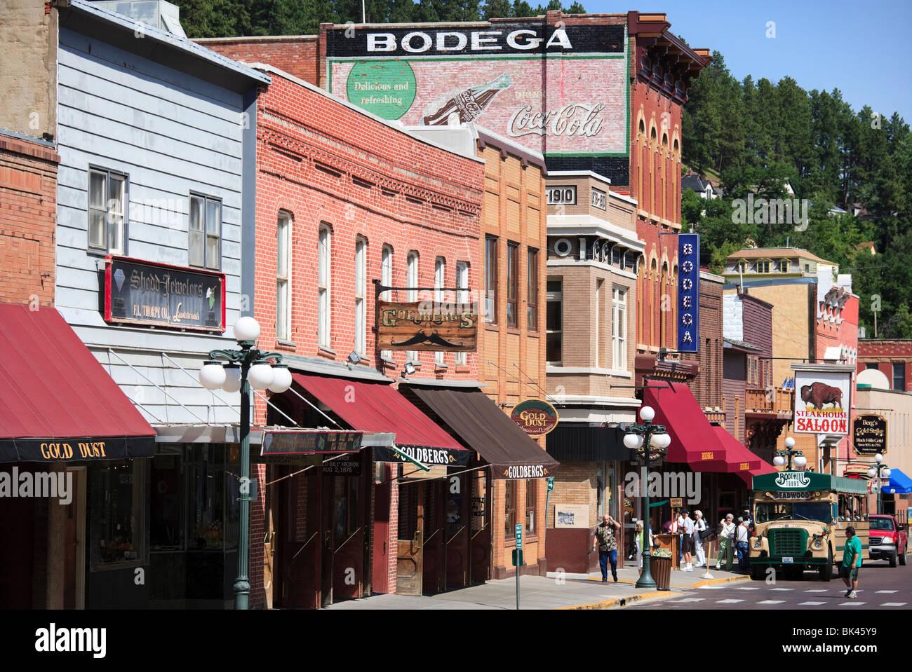Main Street im mittleren Westen Grenze und Glücksspiel Stadt Deadwood South Dakota, der Ort, wo Wild Bill Hickok Stockbild