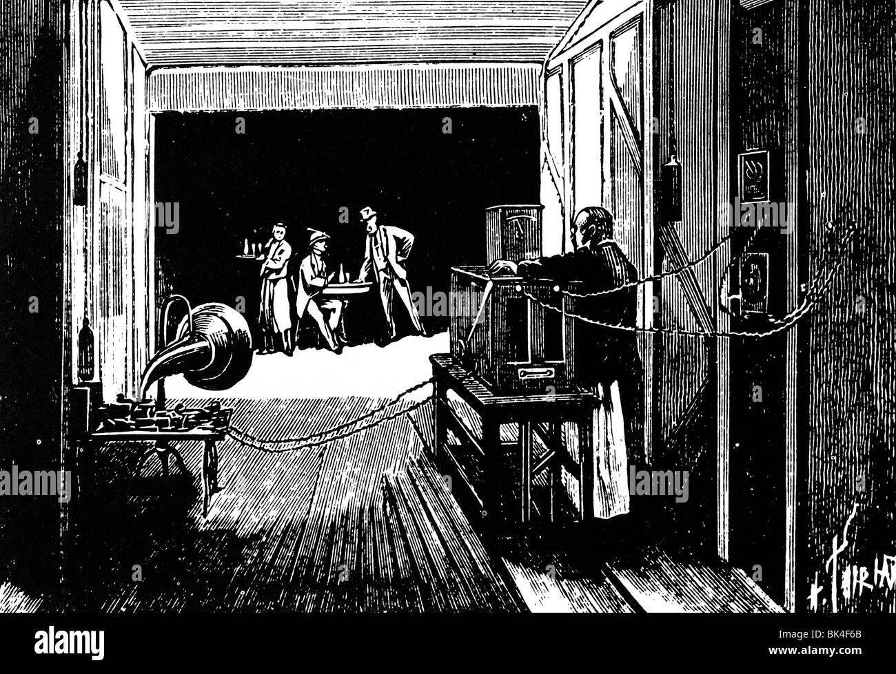 Edison Experimente mit bewegten Bildern und Ton, 1895 Stockbild