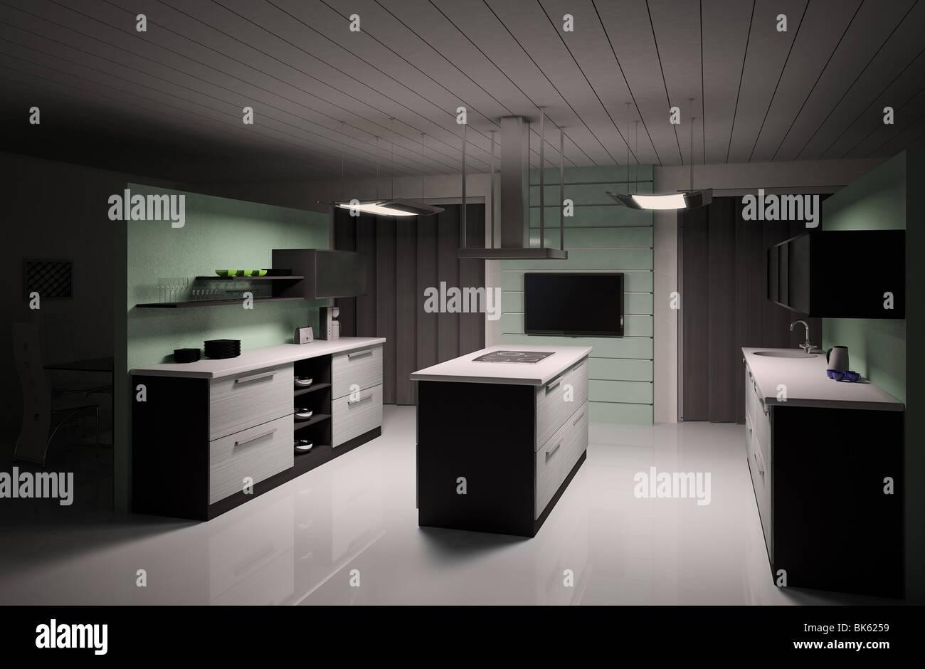 Innere des modernen schwarz weiße Küche 3d render Stockfoto, Bild ...