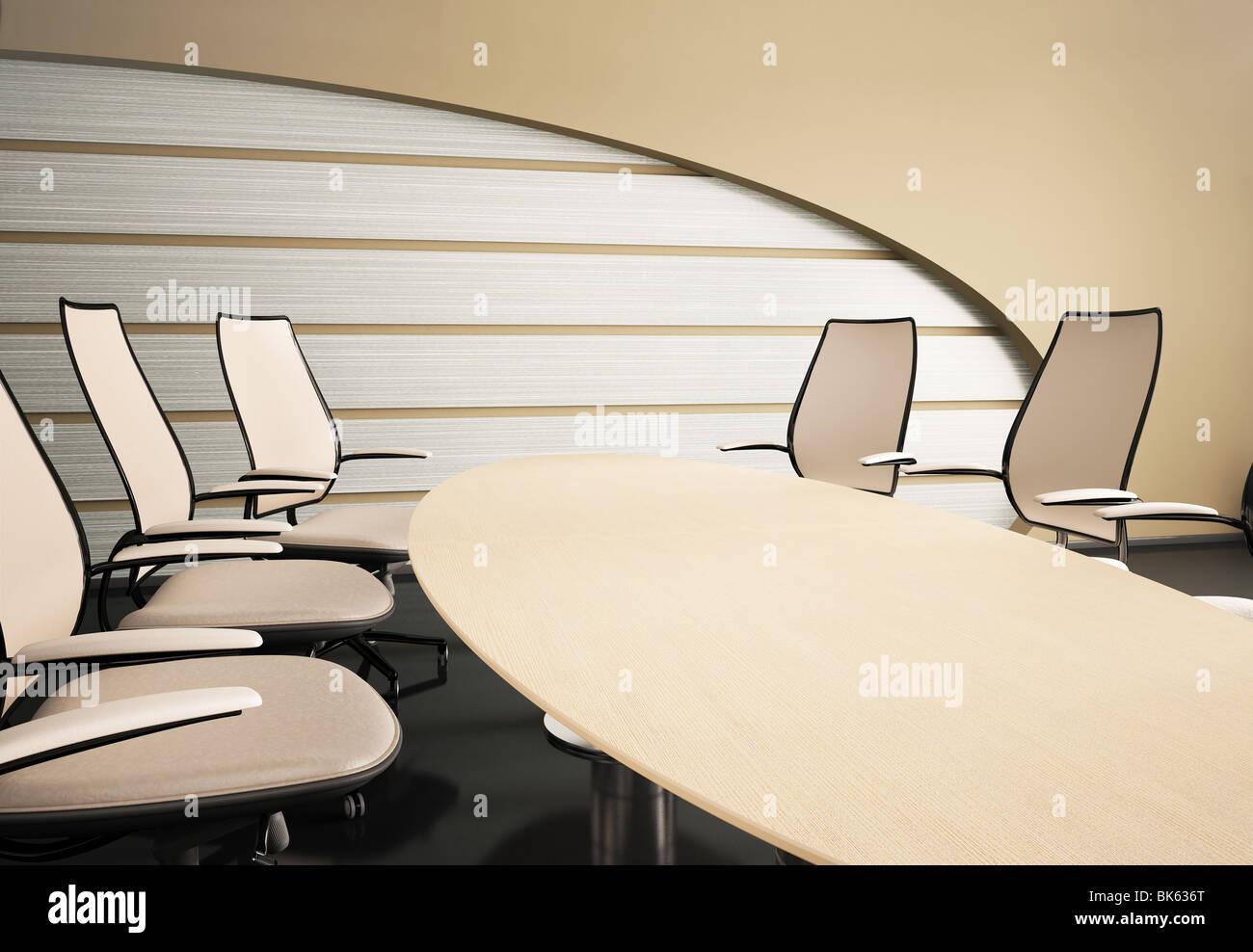 Innenraum Der Sitzungssaal Mit Ovalen Tisch Und Stühle 3d Render Stockbild