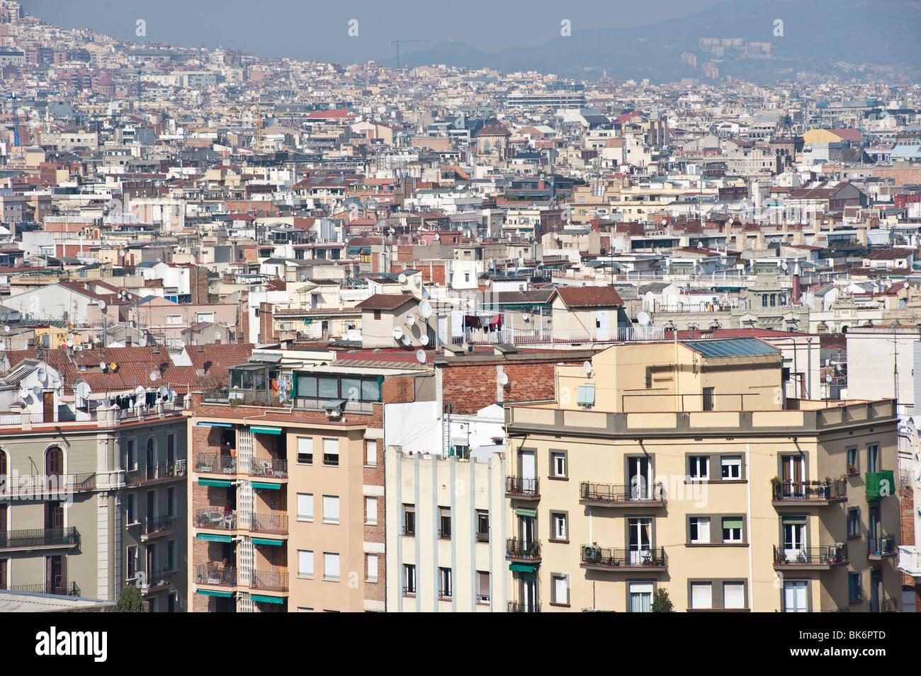 Gesamtansicht von Barcelona vom Montjuïc, Spanien. Stockbild