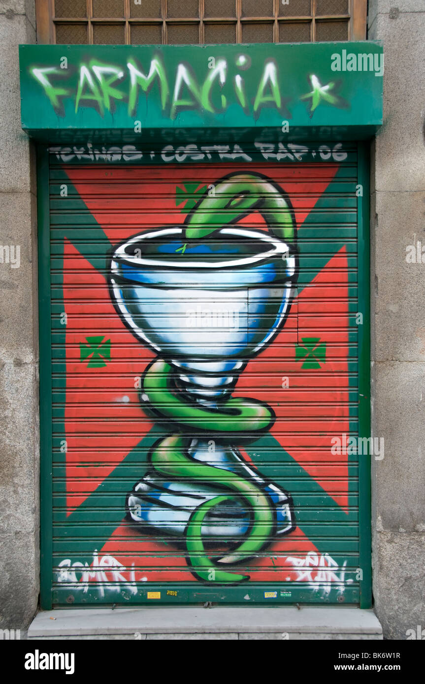 Madrid Spanien spanische Apotheke Medizin Droge Drogen Stockbild