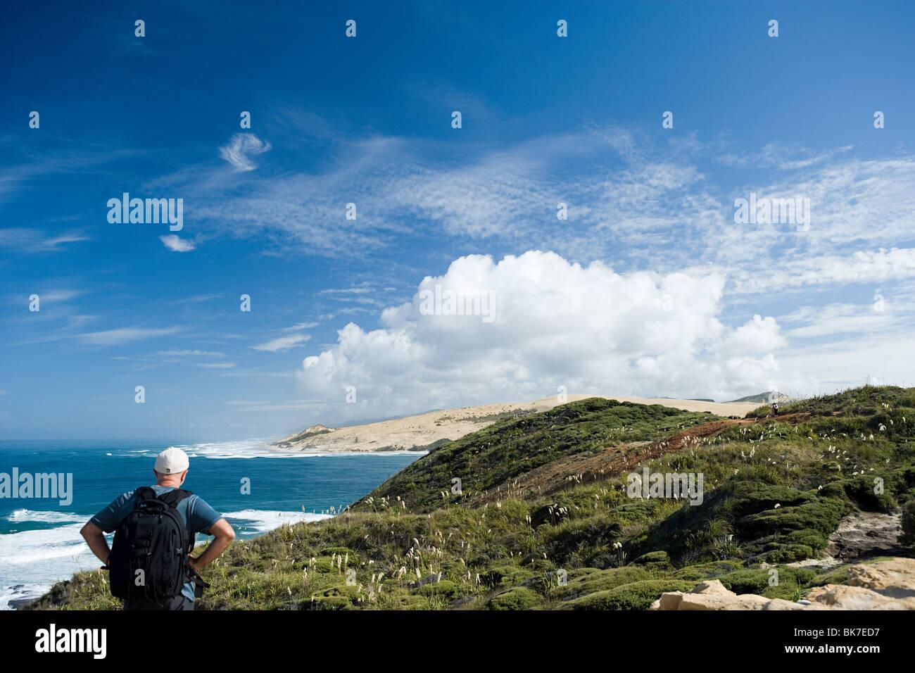 Wanderer auf der Suche in Richtung Einlass des Hokianga Harbour Stockfoto