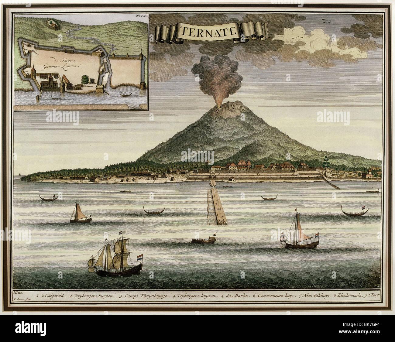 Abbildung von Francois Valentijns 18. Jahrhunderts Oud Nieuw Oost-Indien zeigt die Insel von Ternate, Indonesien Stockbild