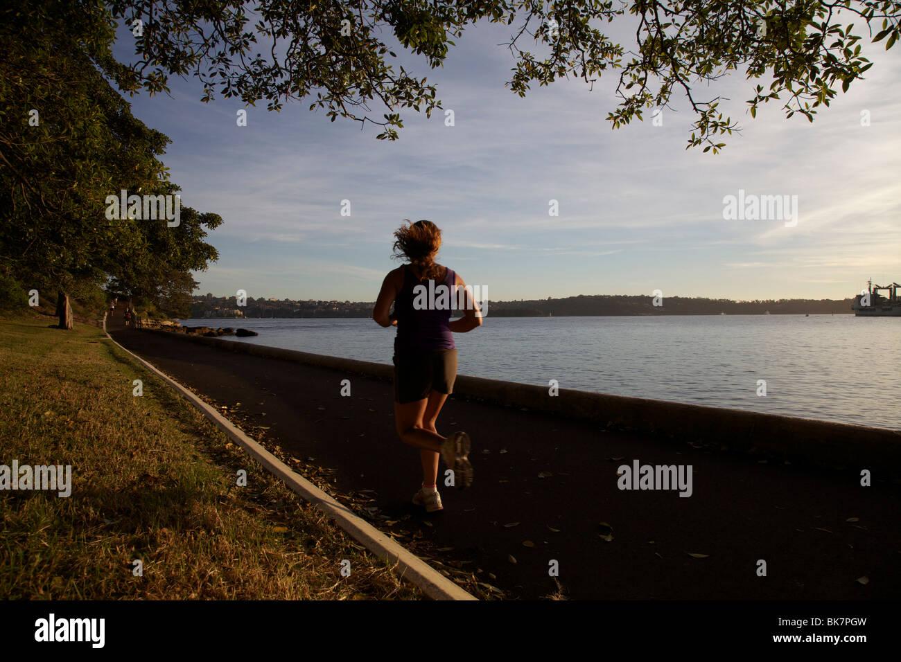 Jogger in der Domäne, Sydney, Australien Stockbild