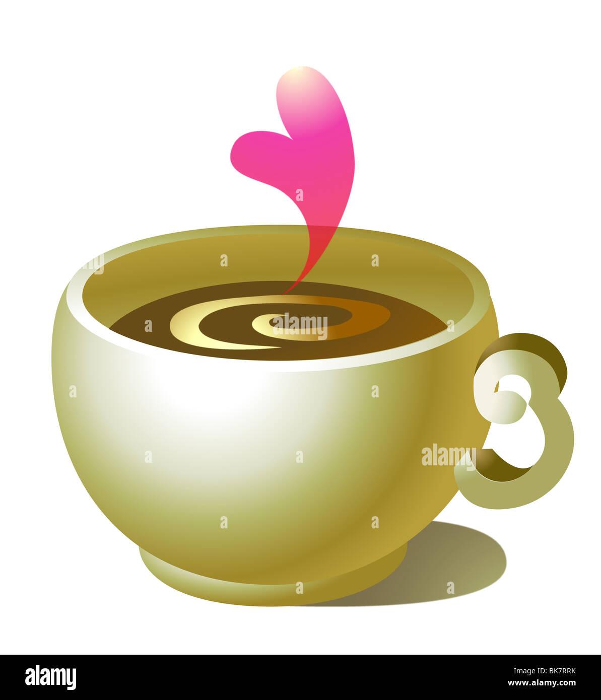 Kaffeetasse mit roten Herzen isoliert auf weißem Hintergrund Stockbild
