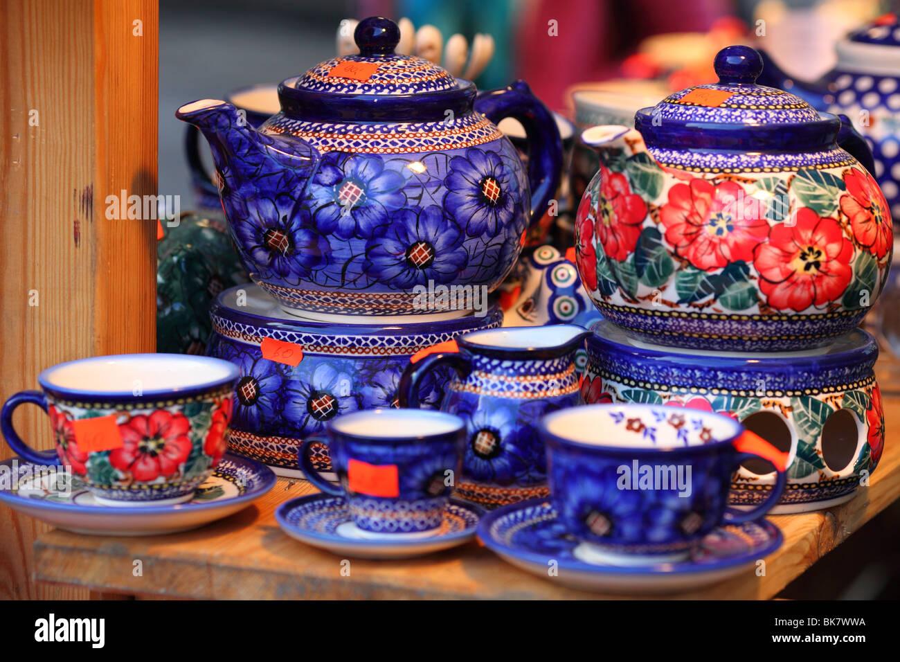 Steingut Keramik bunte keramik keramik steingut aus boleslawiec polen stockfoto