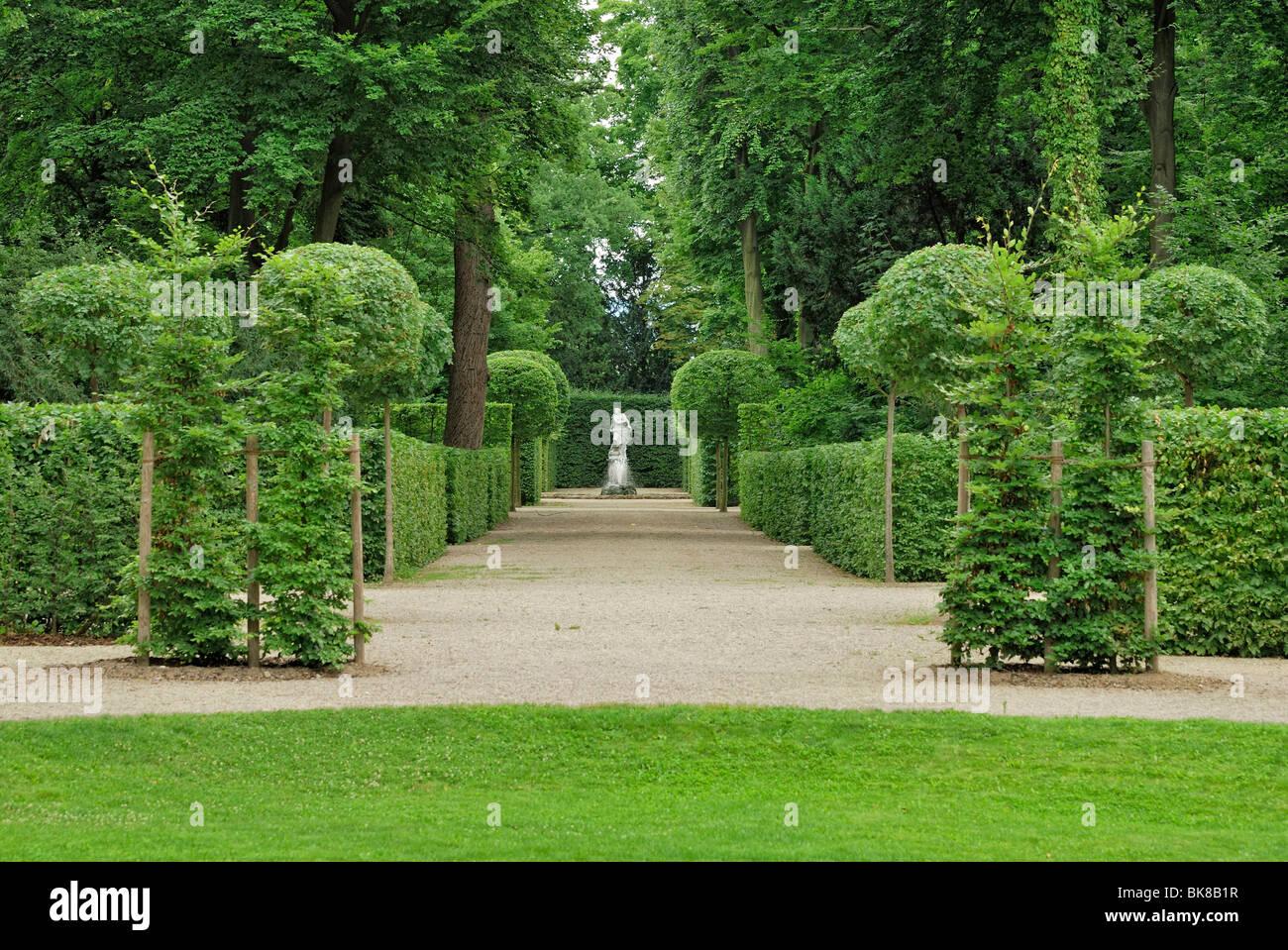 Hecken und Bäume beschnitten in Form, Barockgarten, Schloss Schwetzingen Schloss, Baden-Württemberg, Deutschland, Stockbild