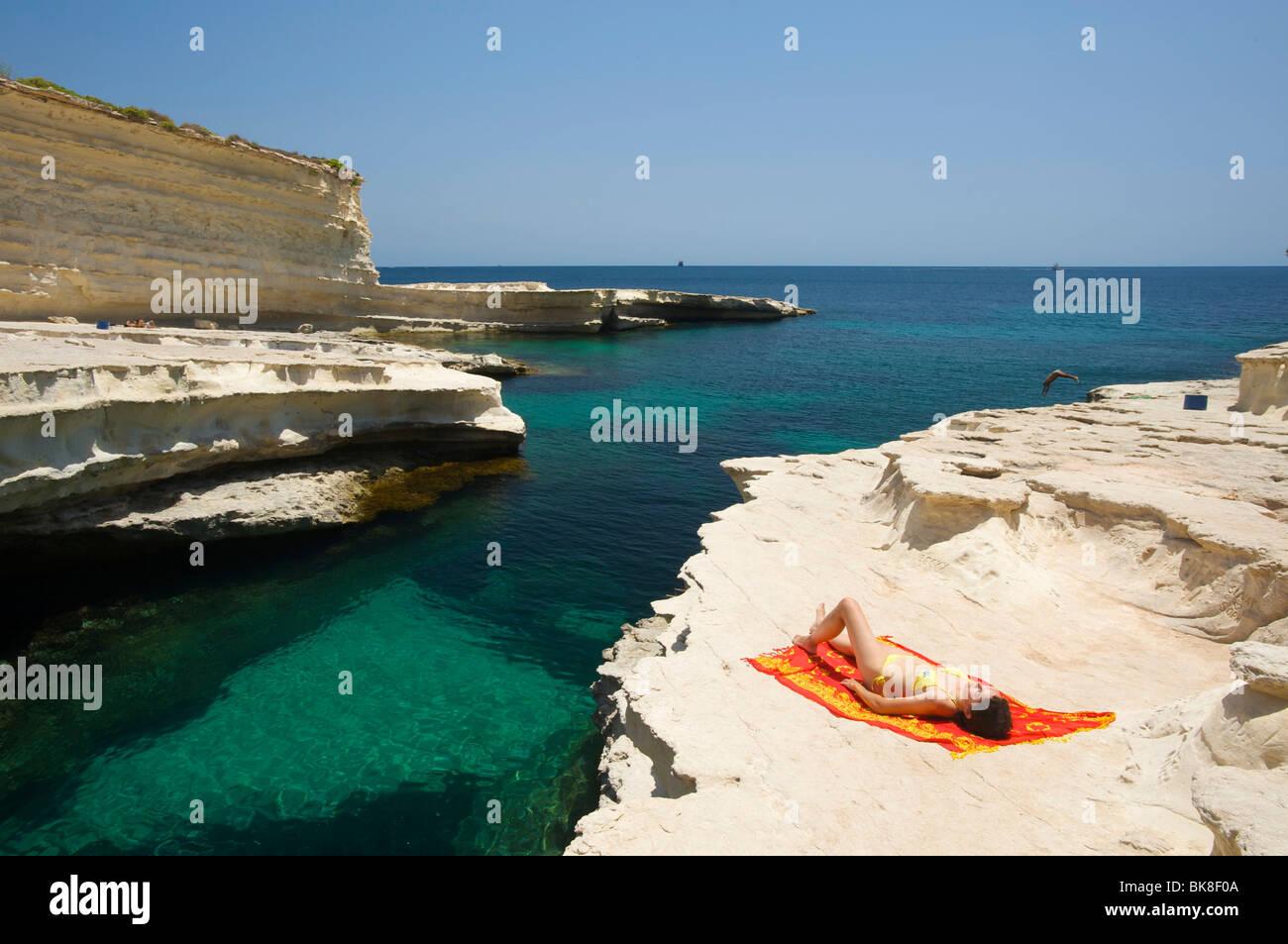 Peter Pool in der Nähe von Marsaxlokk, Malta, Europa Stockbild