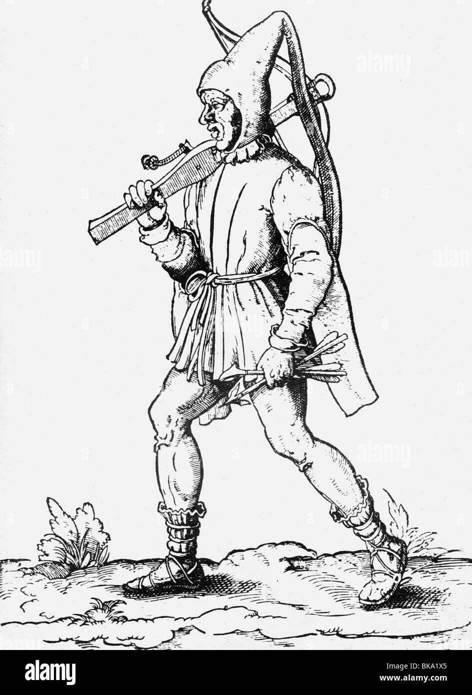 Veranstaltungen, Deutscher Bauernkrieg, 1524-1526, rebellischen Bauern, crossbowman, zeitgenössischen Holzschnitt, Stockbild