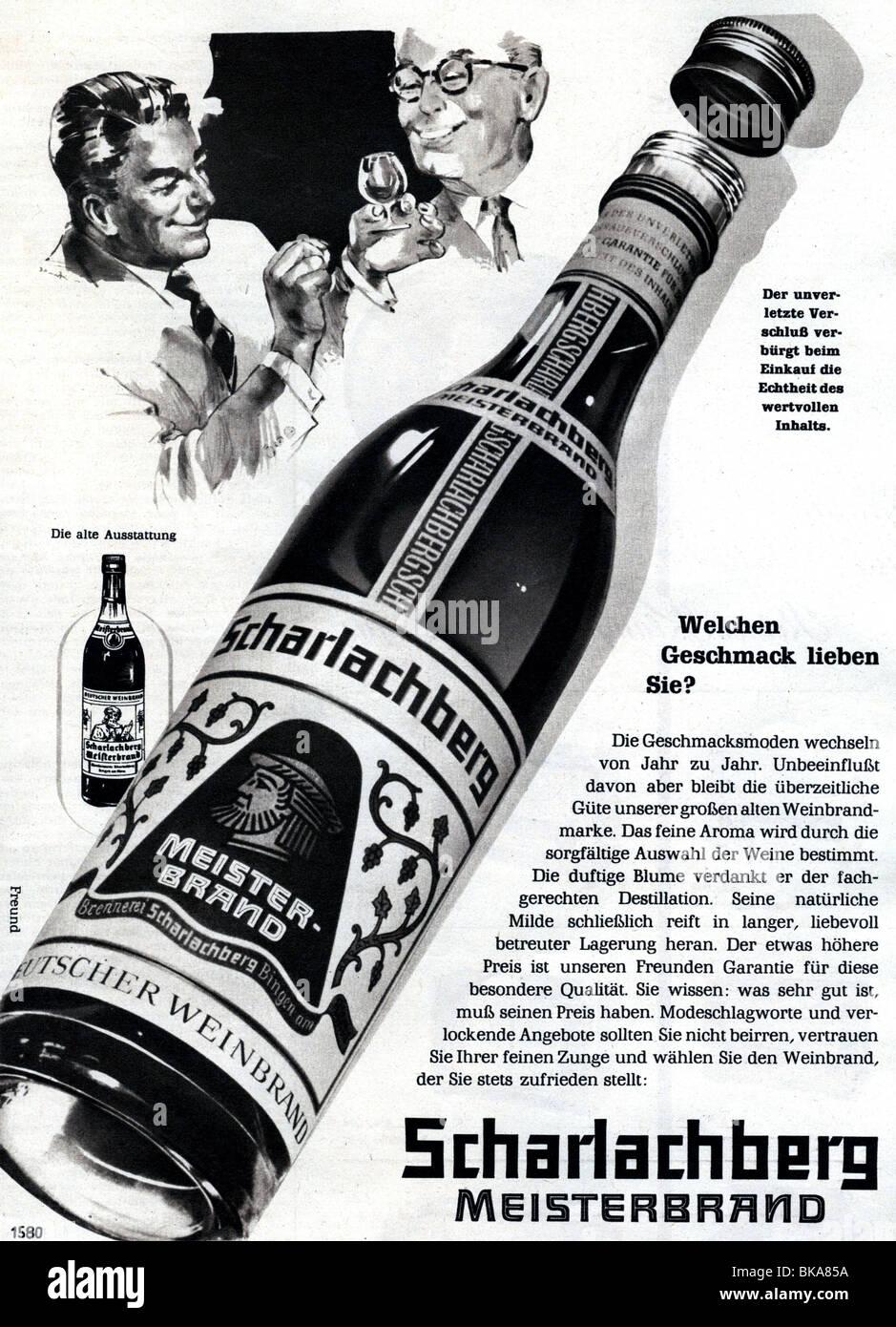 Werbung, Getränke, Spirituosen, Scharlachberg Meisterbrand, Werbung ...