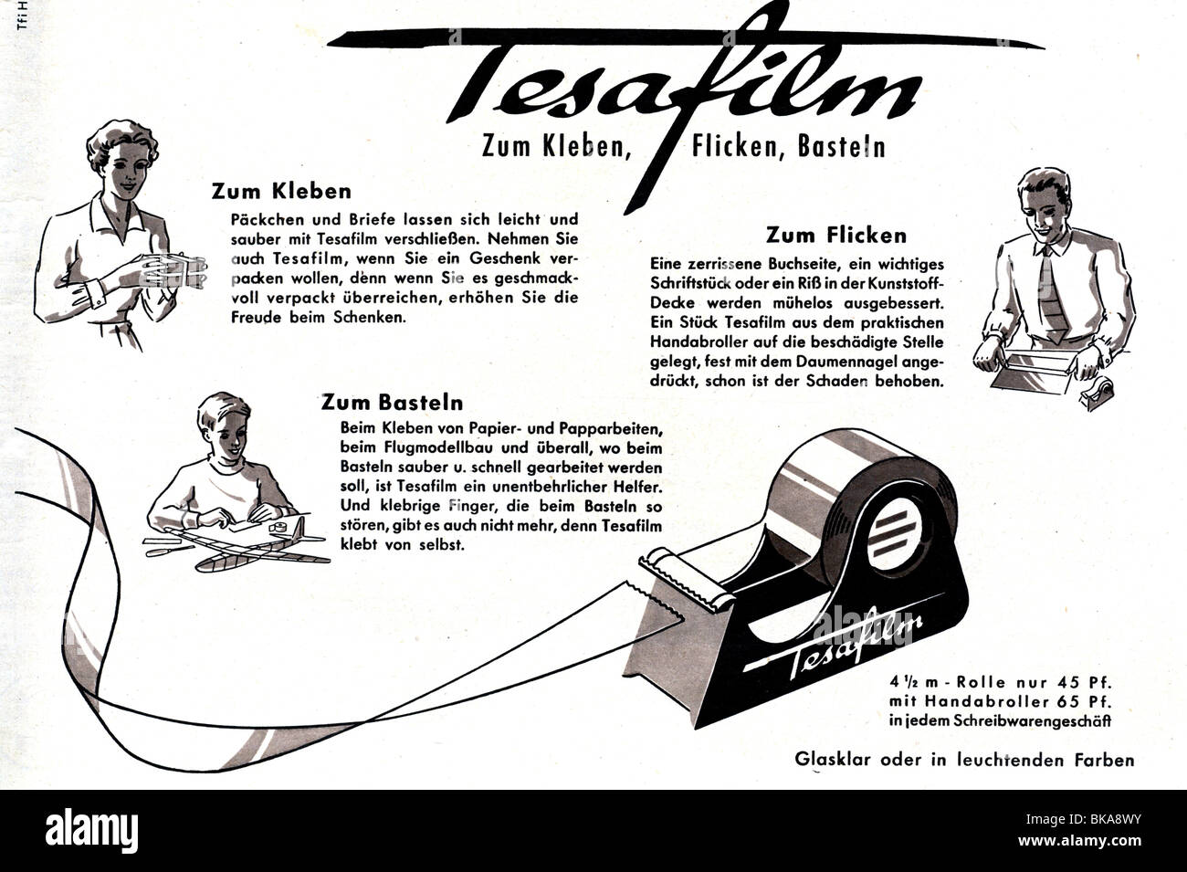 Tesa Deutschland werbung briefpapier tesa tesafilm werbung im magazin 1955