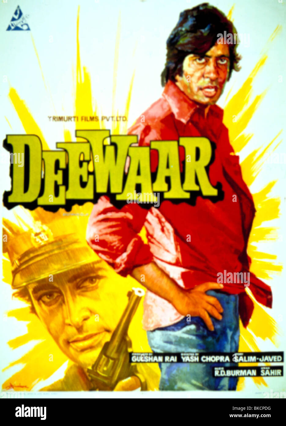 DEEWAAR (1975) DIE WAND (ALT) PLAKAT BOLLYWOOD DEWR 001OS Stockbild