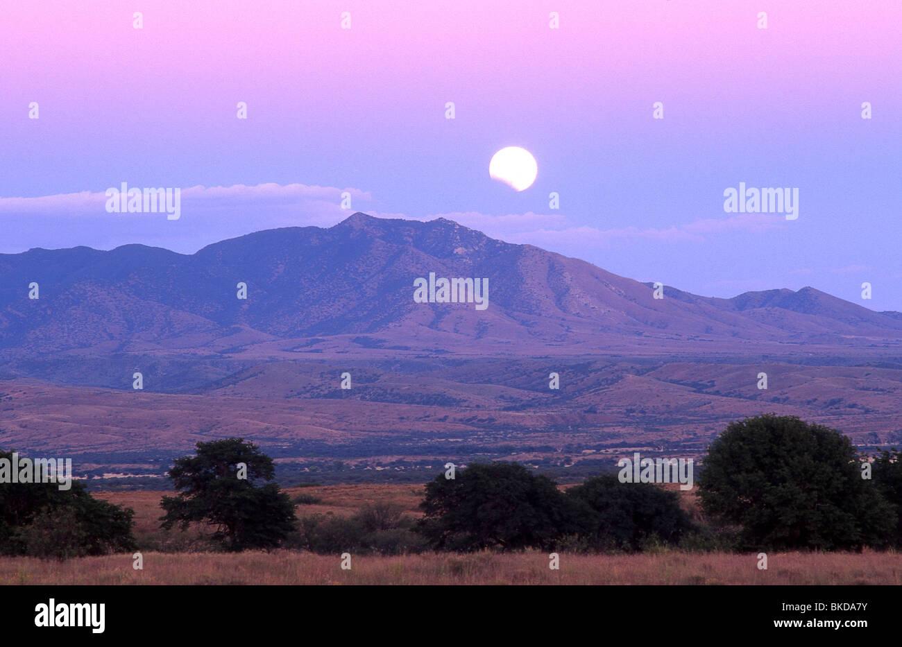 Eine Mondfinsternis über der Empire-Cienega Conservation Area und Whetstone Mountains, Sonora-Wüste, Sonoita, Stockbild