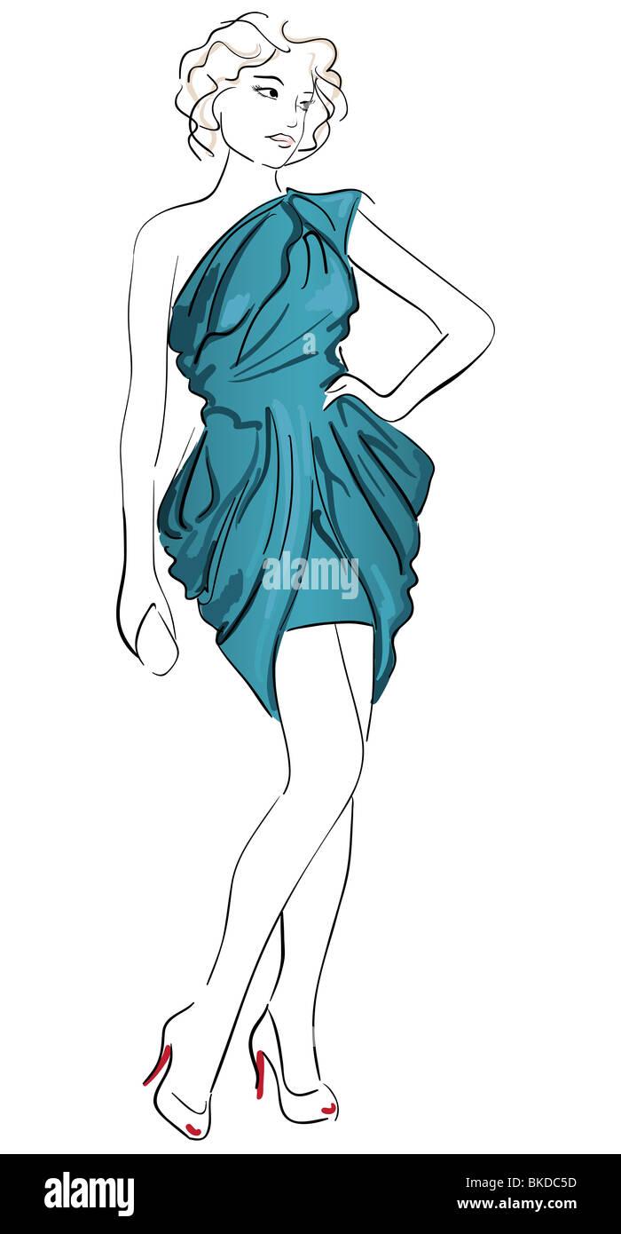 Mode-Illustration eines Mädchens Cocktail-Kleid tragen Stockfoto ...