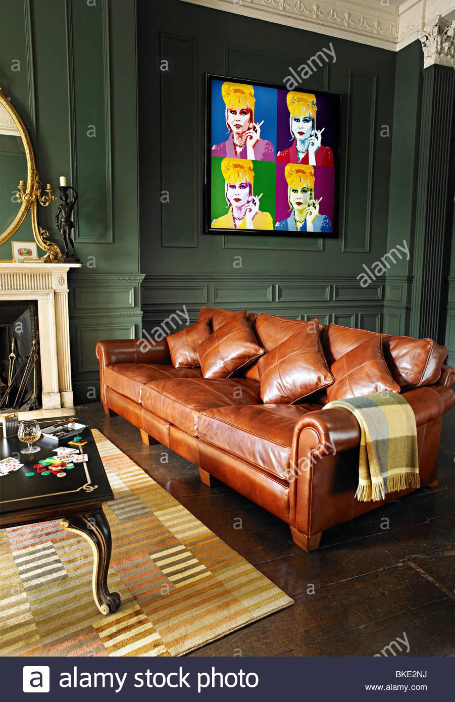 Alte Leder Sofa Gentlemen Club Mannlich Nach Hause Stockfoto Bild