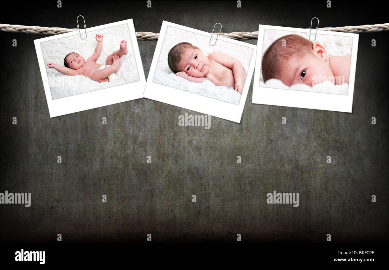 Drei Lustige Susse Kaukasische Hispanic Baby Fotos Mit Weissem Rahmen