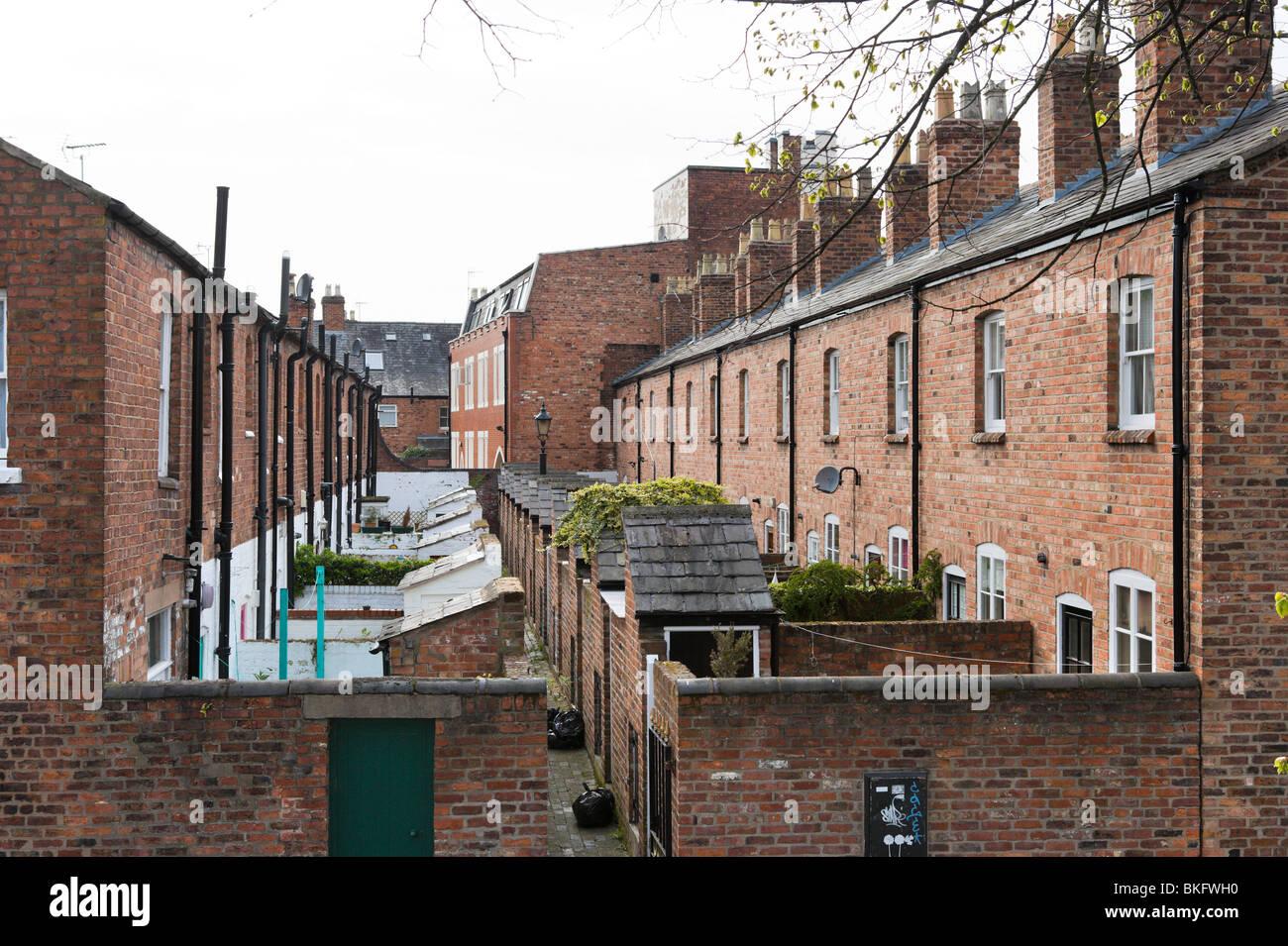 Reihen von Reihenhäusern, Chester, Cheshire, England, UK Stockbild