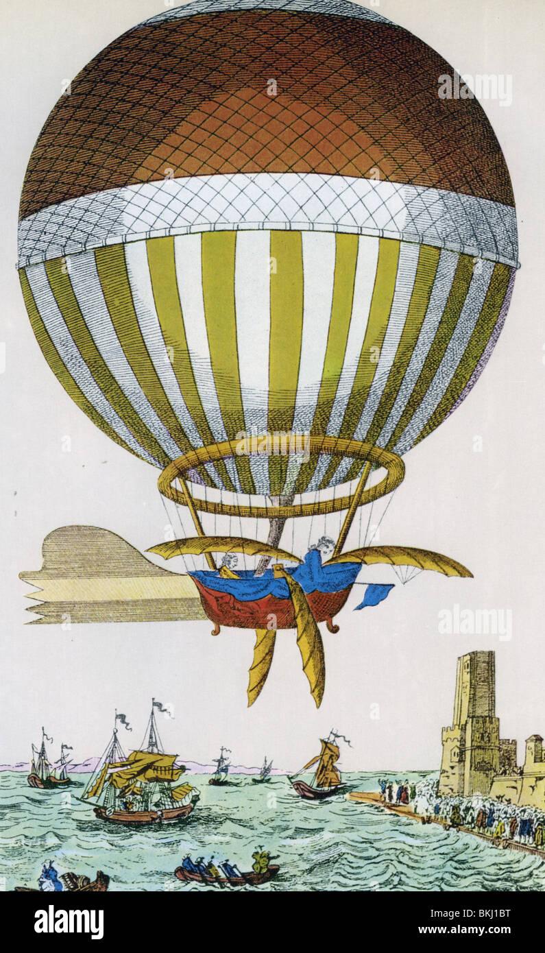 Ärmelkanal wird zum ersten Mal im Jahre 1785 von Dover nach Calais durch Jean-Pierre Blanchard und Dr. John Jeffries Stockfoto
