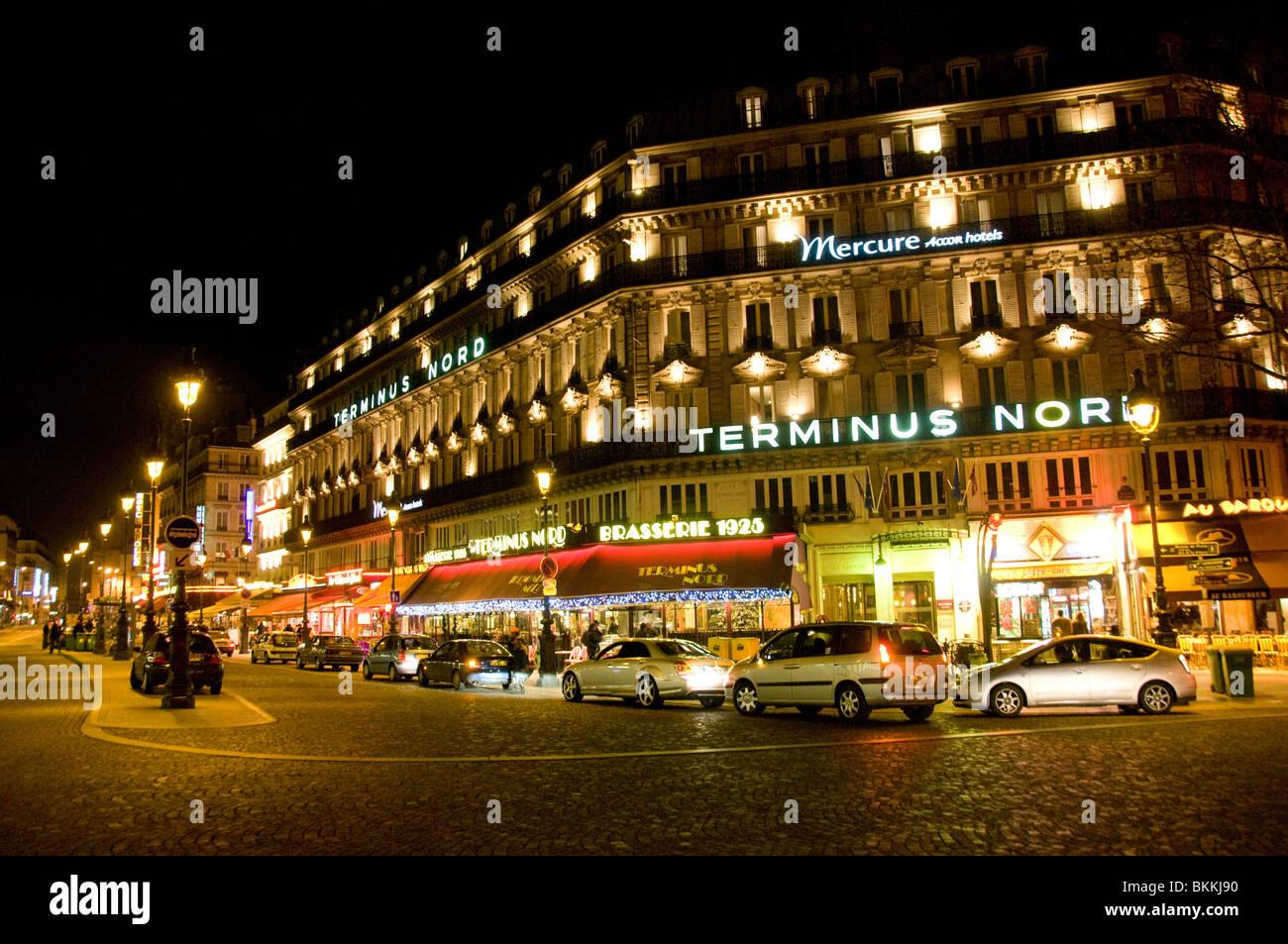 Terminus Nord außerhalb Gare du Nord in Paris Stockbild