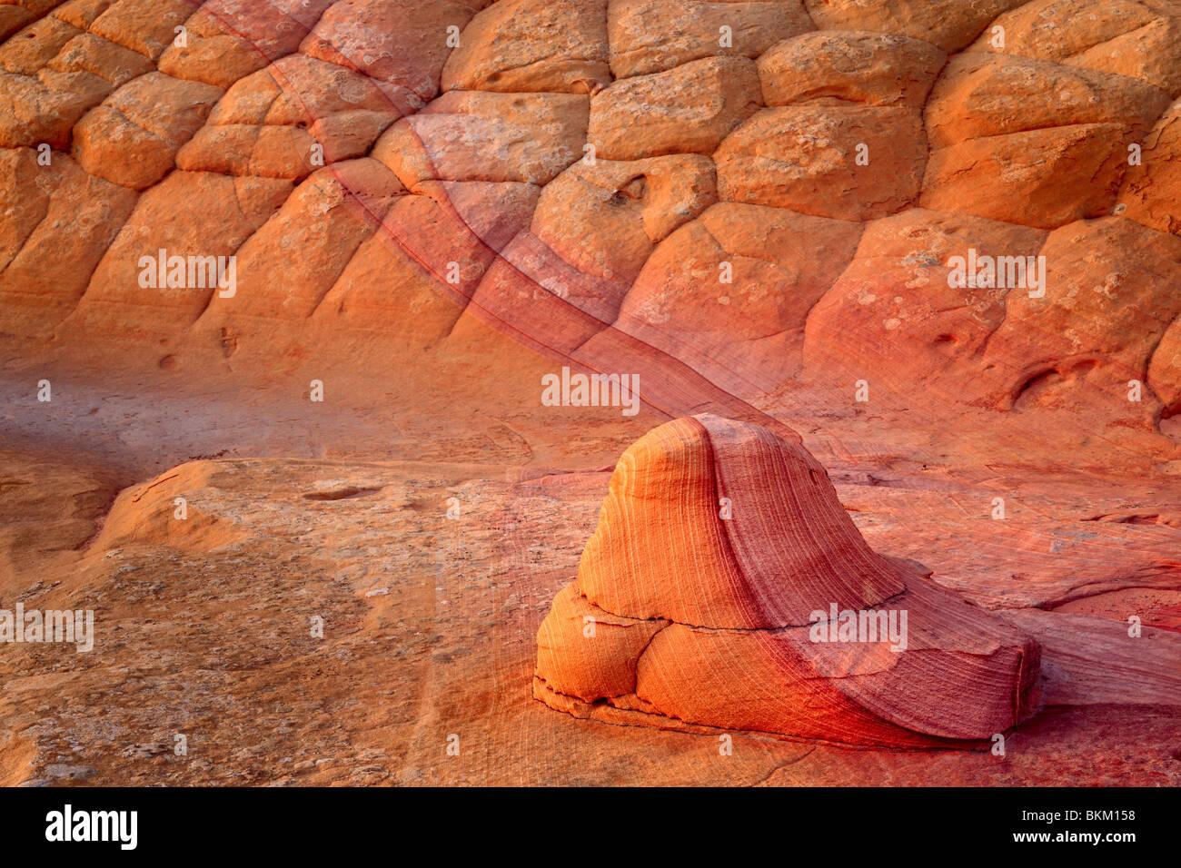 Strukturierte Sandsteinwand im Vermilion Cliffs National Monument, Arizona Stockbild