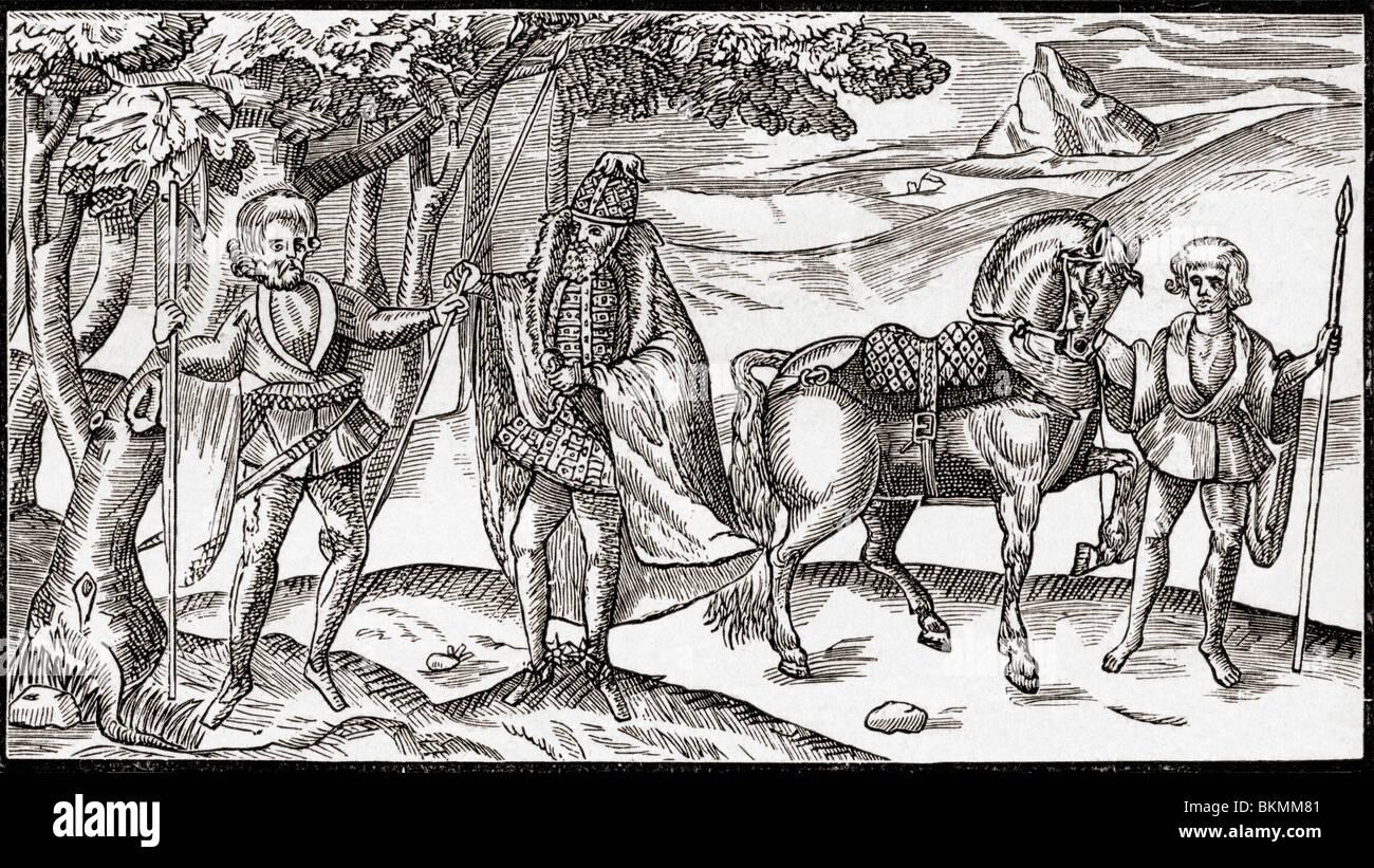 Eine irische Diener, seinem Meister und ein Bräutigam. Stockbild